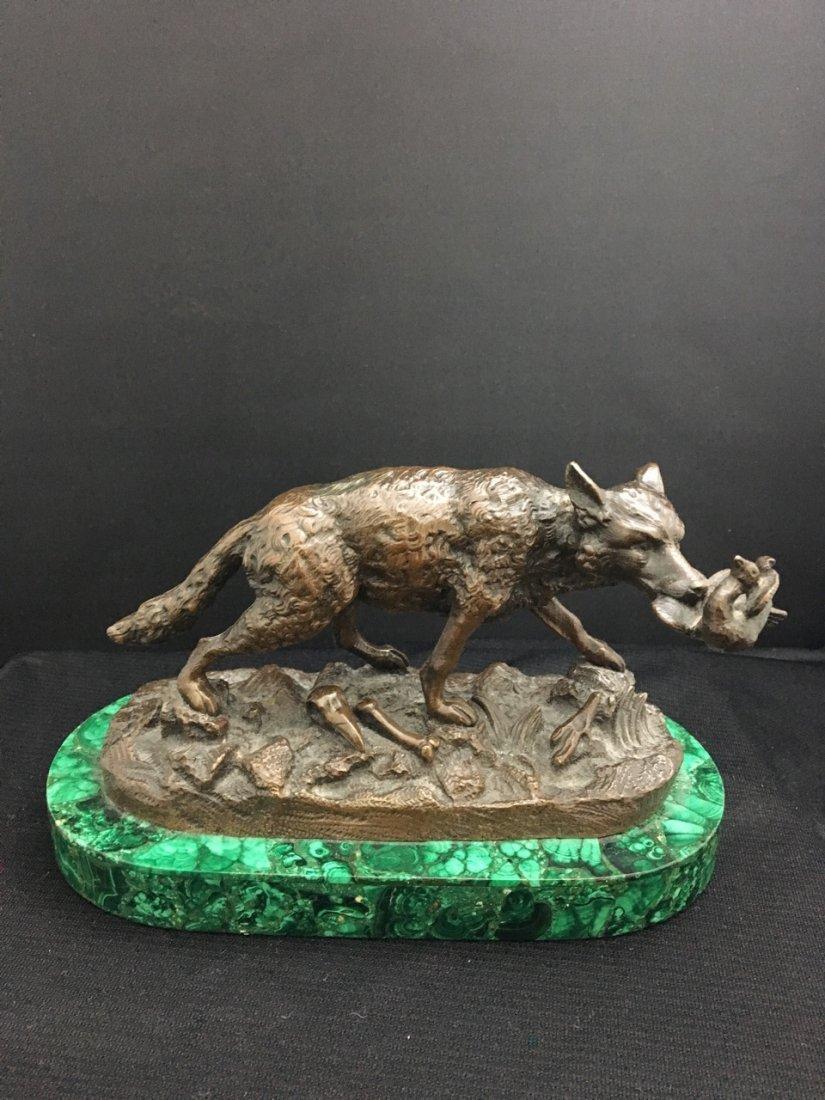 Russian Bronze Figure of Dog on Malachite Base