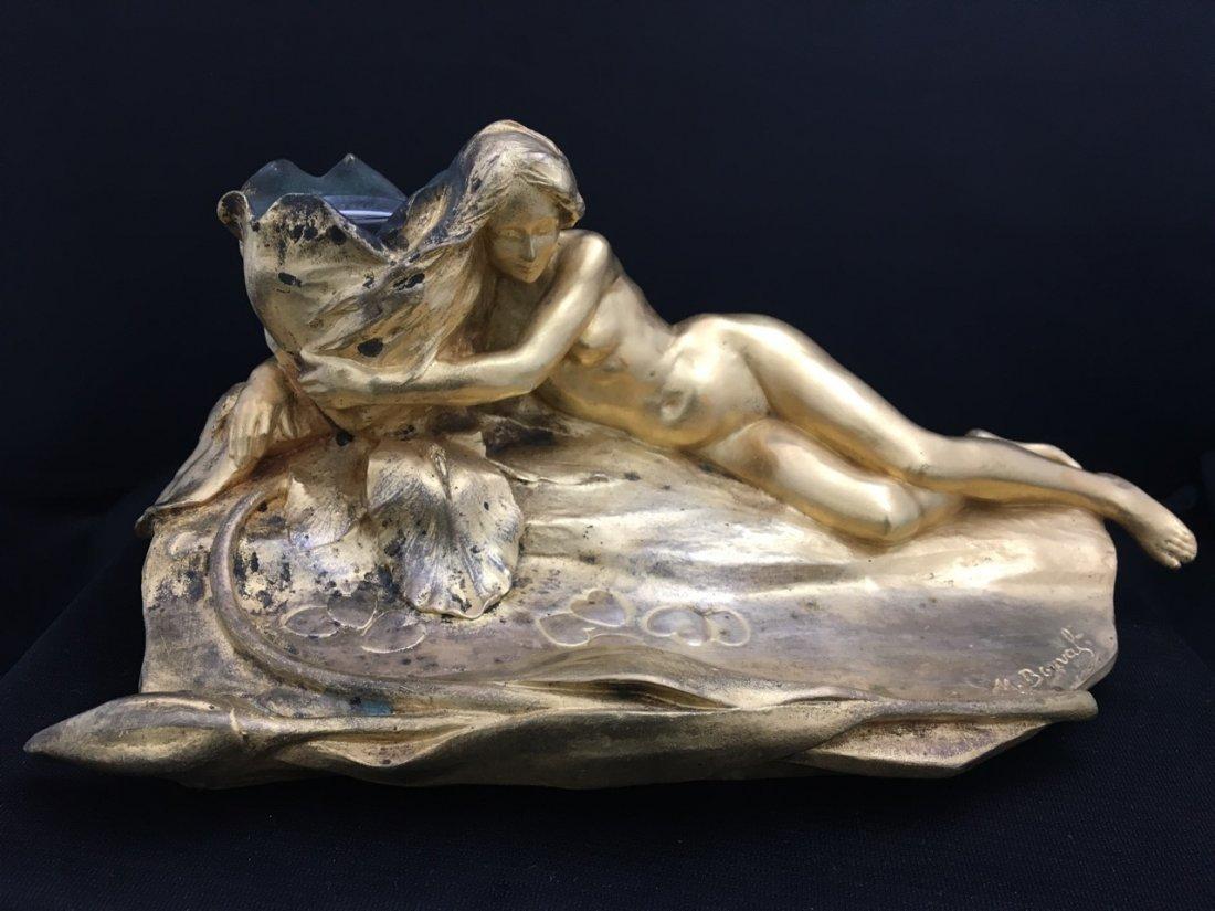 Maurice Bouval Art Nouveau Bronze Inkwell