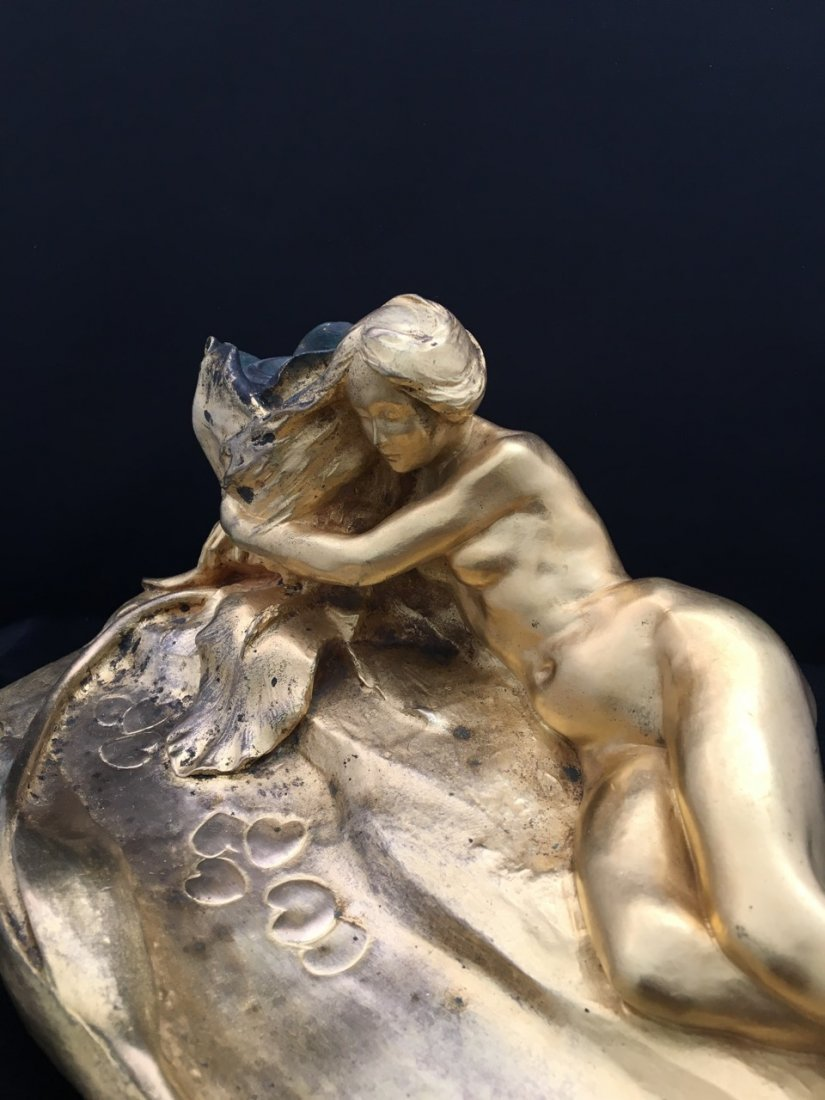 Maurice Bouval Art Nouveau Bronze Inkwell - 3