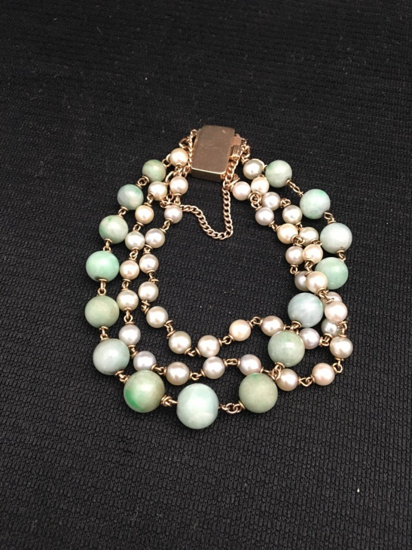 Chinese 14k Gold, Jade and Mother of Pearl Bracelet