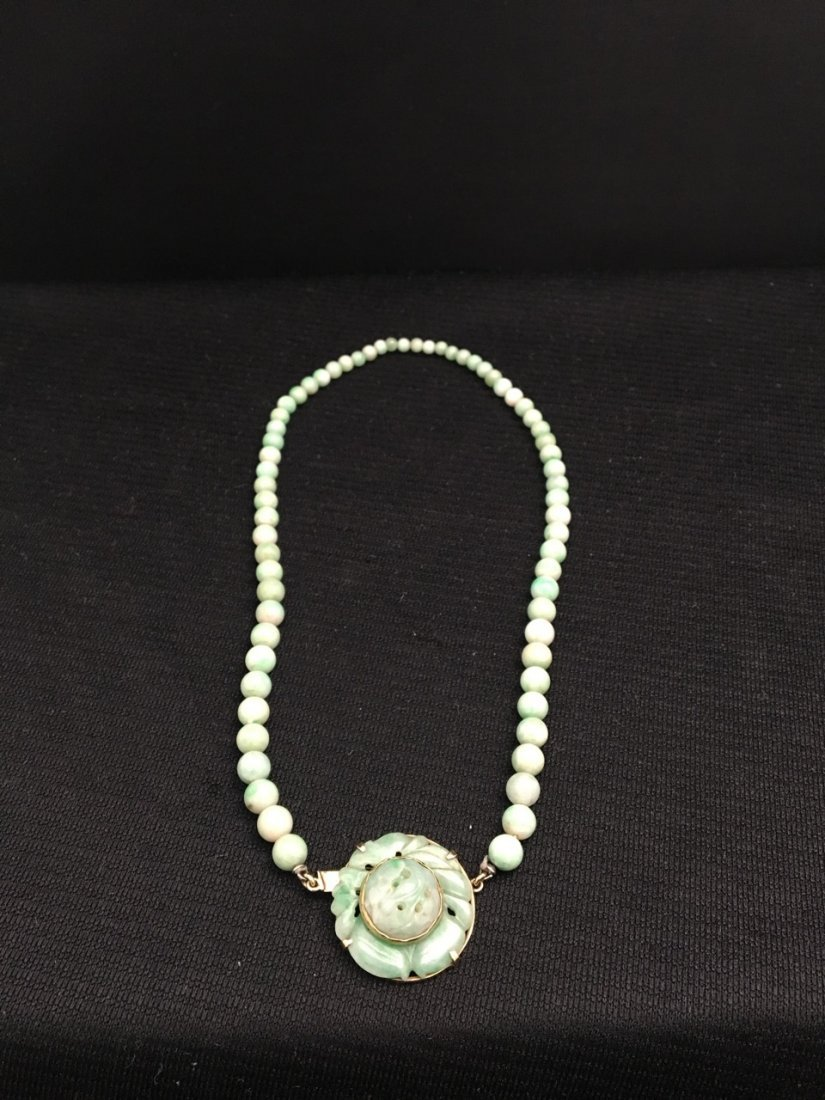 Chinese 14k Gold Jade Mounted Necklace