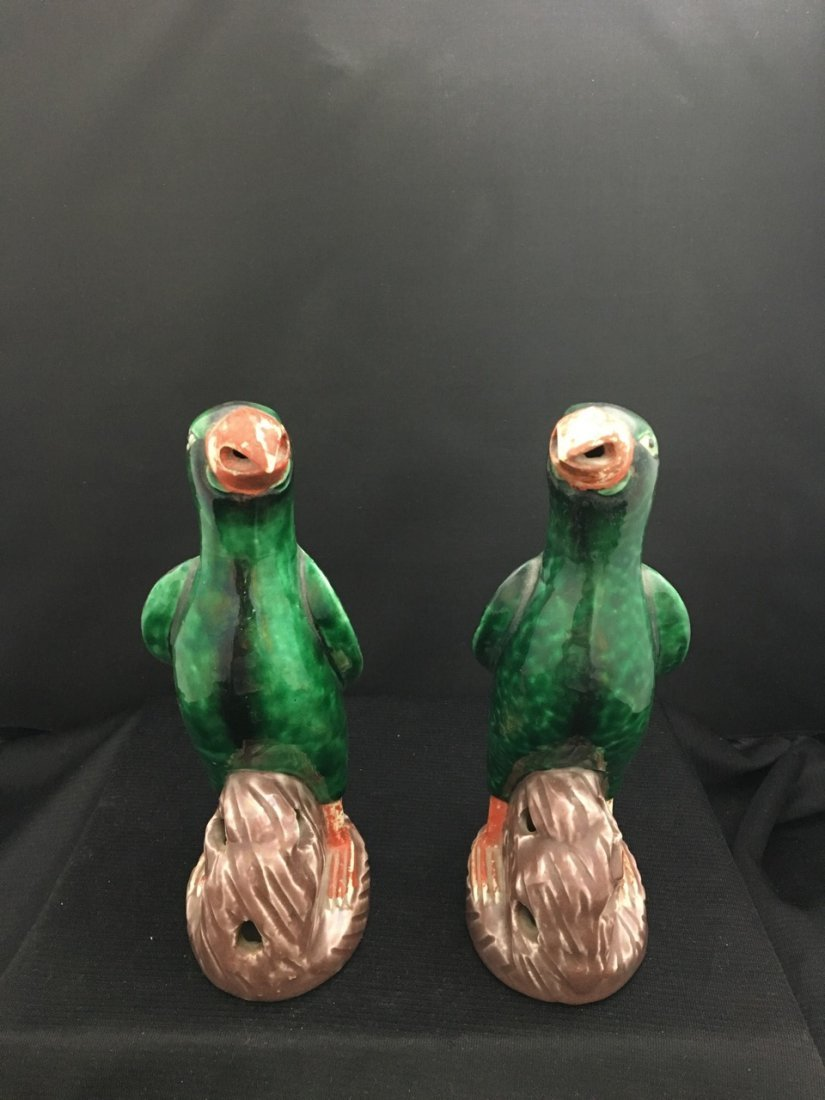 Chinese Pair of Very Old Porcelain Parrots