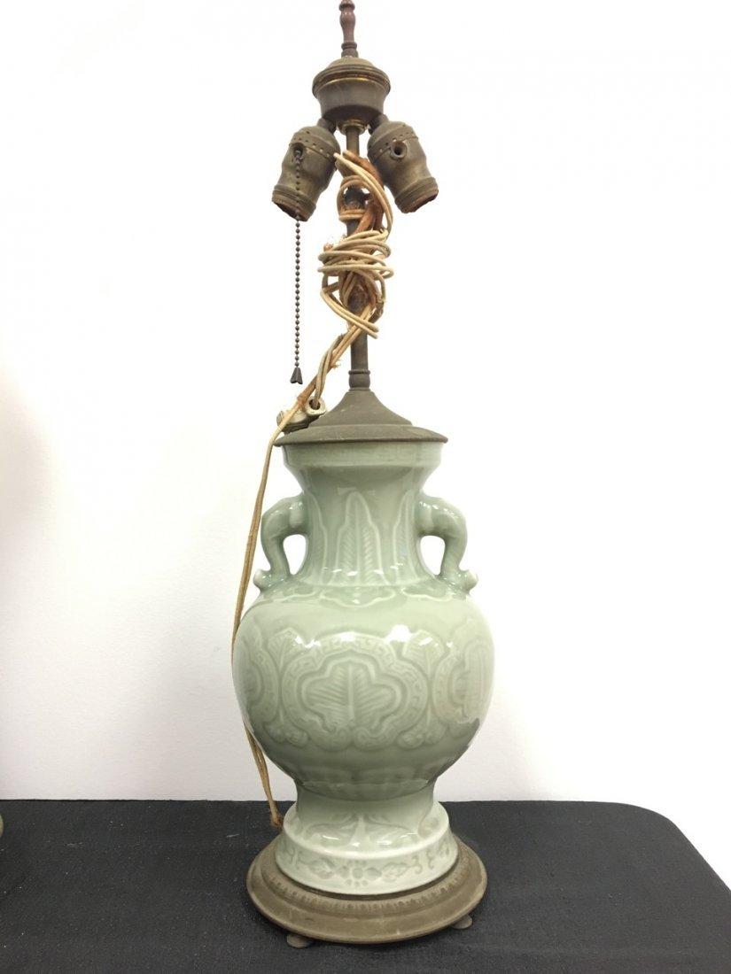 Chinese Green Celadon Porcelain Lamp