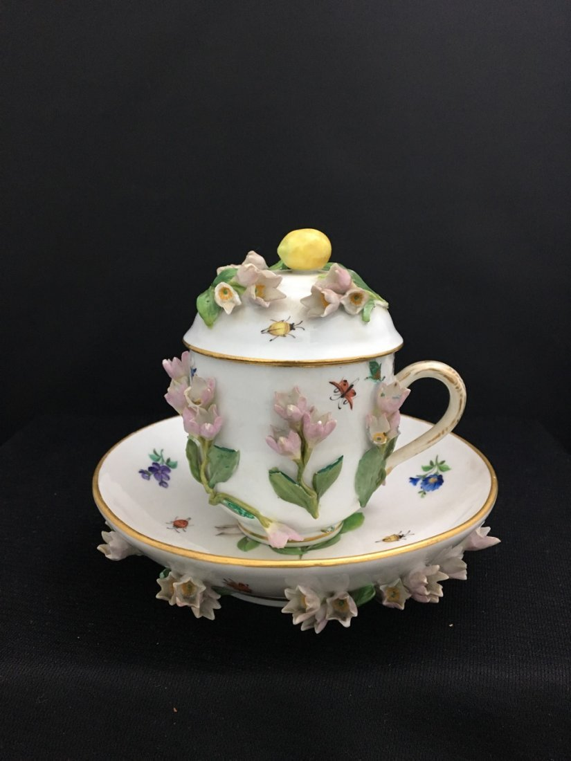Meissen 19th-Century Covered Cup and Saucer