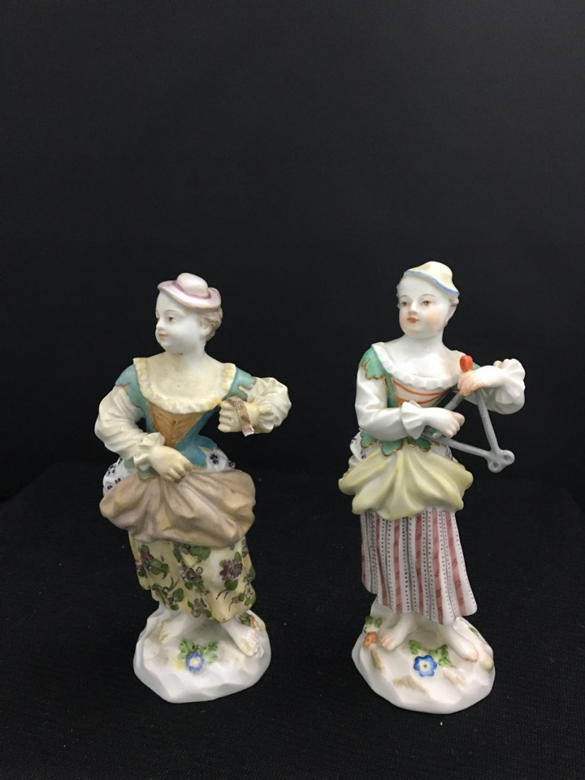 Two Meissen Figures of Girls with Hats