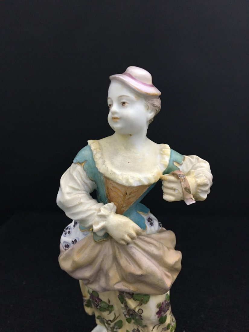 Two Meissen Figures of Girls with Hats - 2