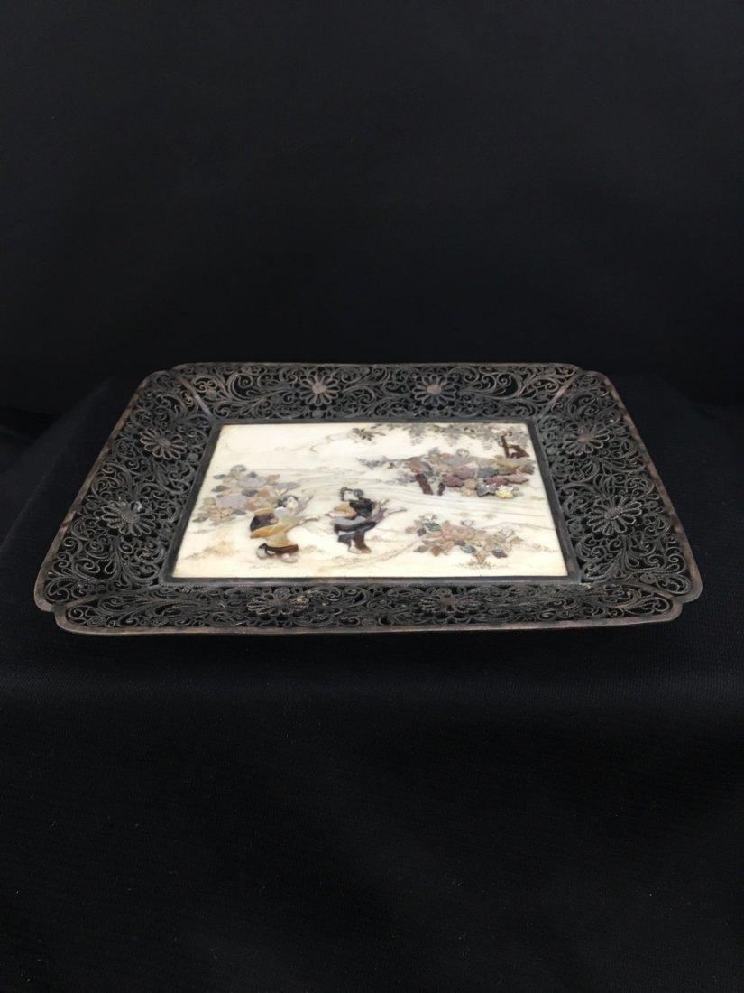 Japanese Shibayama Silver Tray