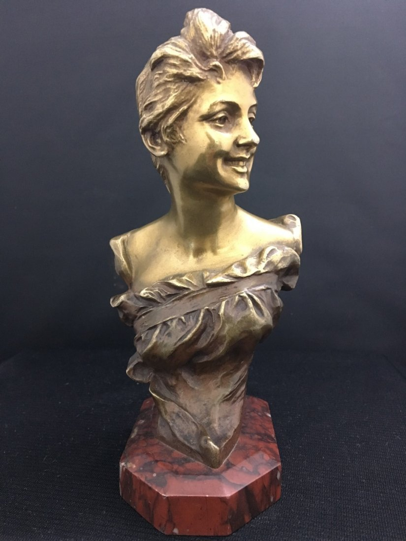 French Bronze Bust of Art Nouveau Girl on Red Marble