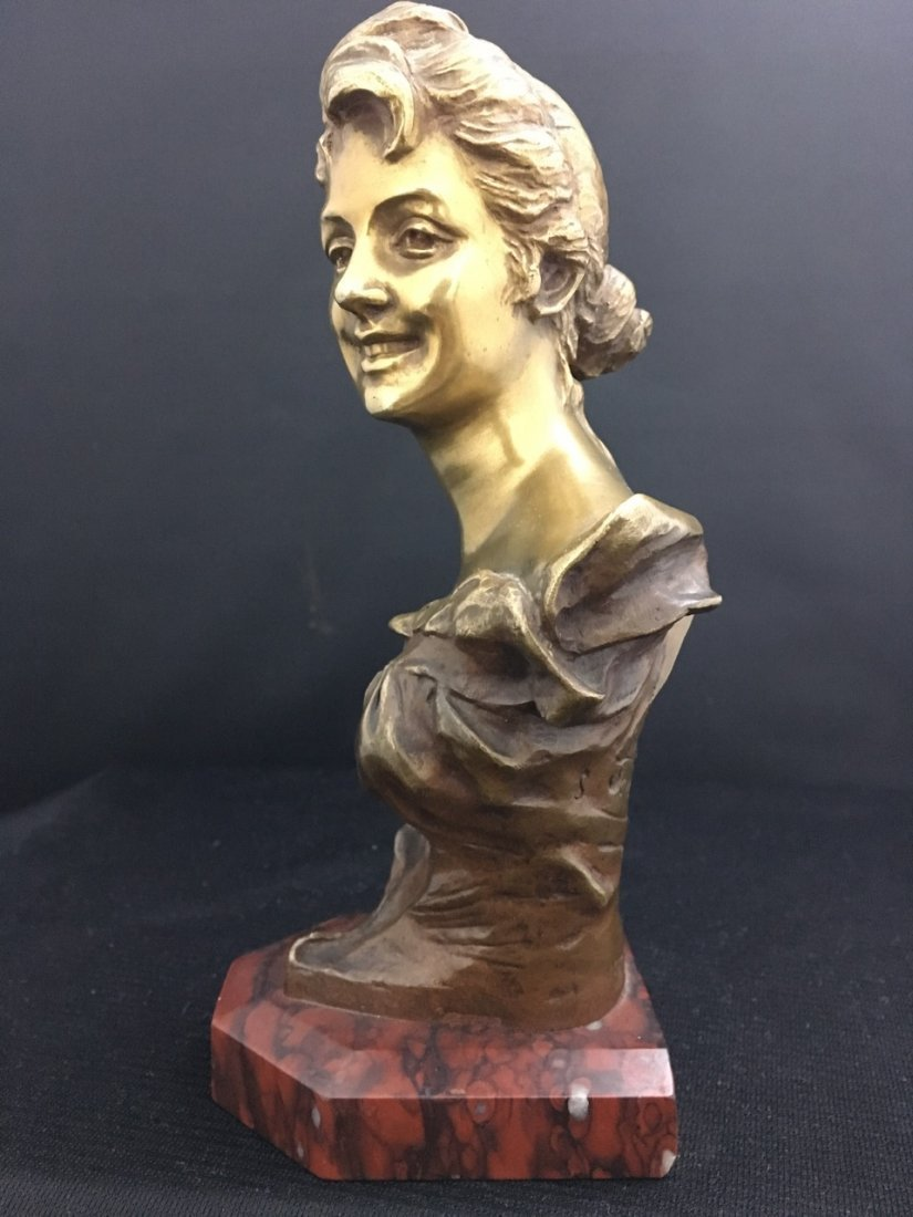 French Bronze Bust of Art Nouveau Girl on Red Marble - 2