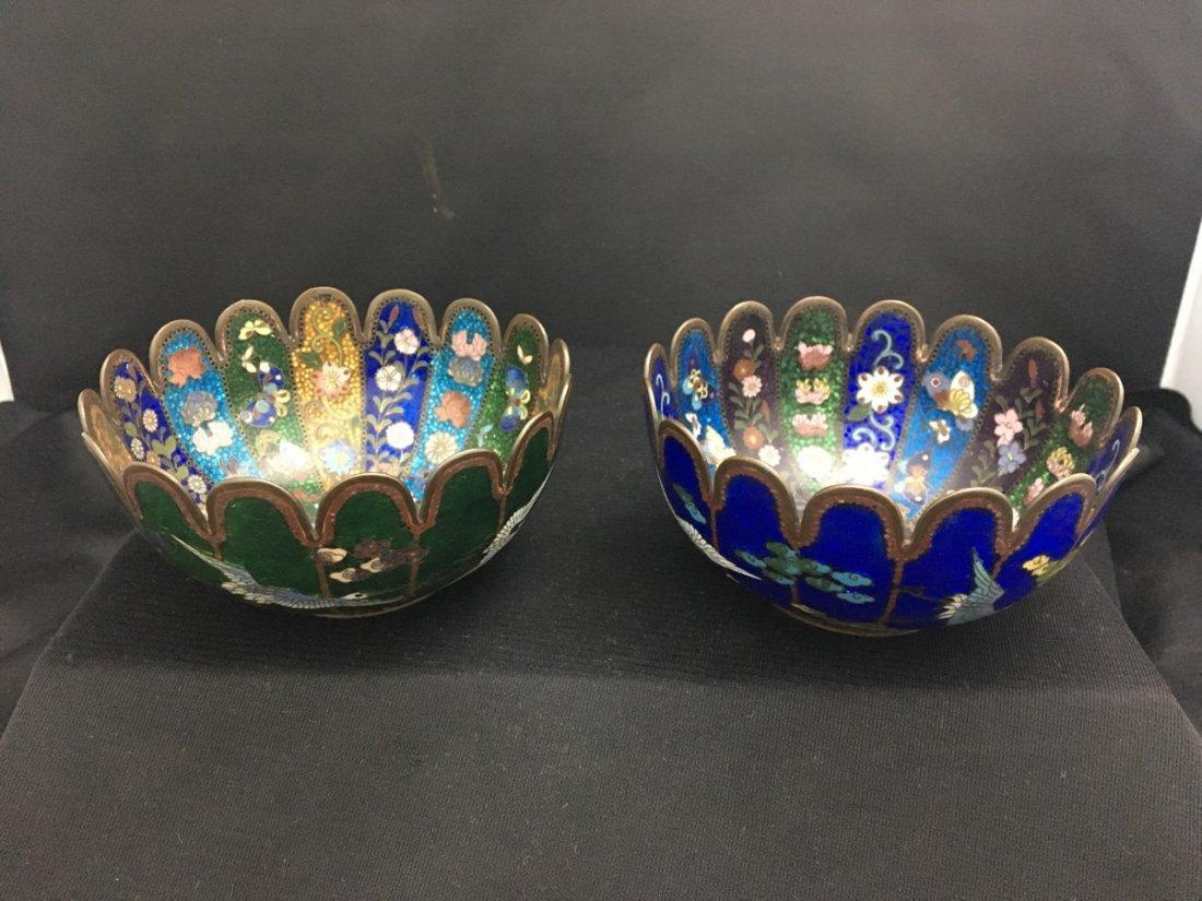 Japanese Pair of Meiji Period Cloisonné Bowls