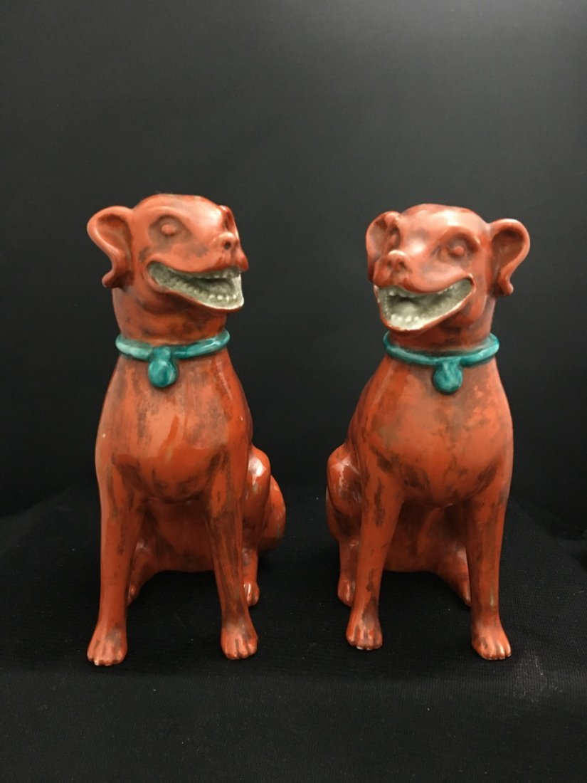 Chinese Pair of Export Red Fu Dogs