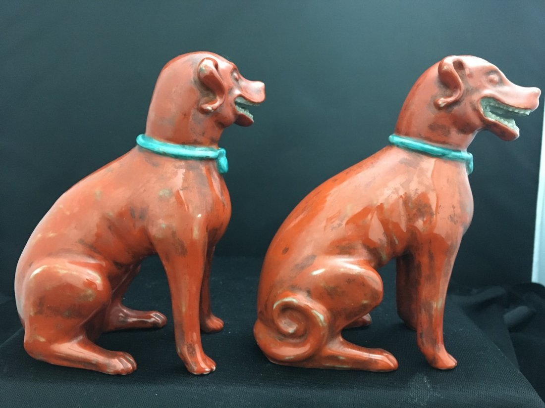Chinese Pair of Export Red Fu Dogs - 2