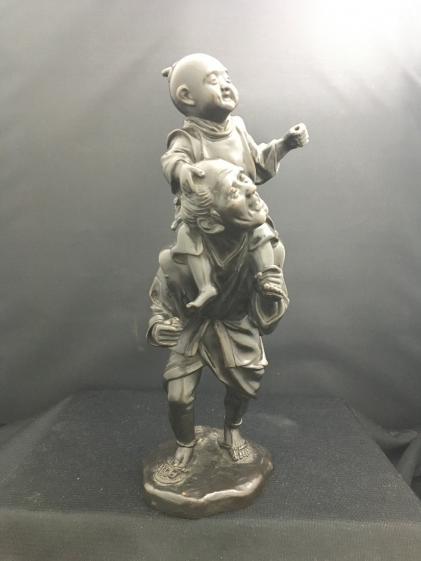 Japanese Bronze Meiji Period Figure of Man and Child