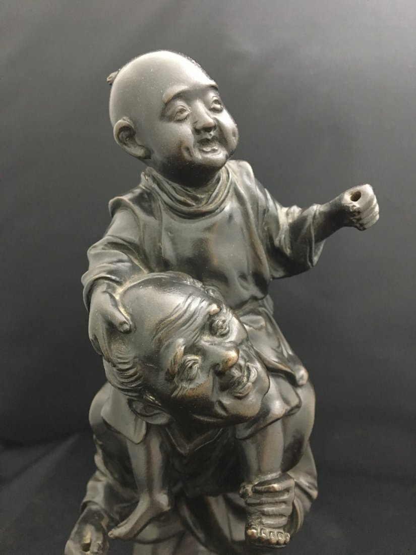 Japanese Bronze Meiji Period Figure of Man and Child - 2