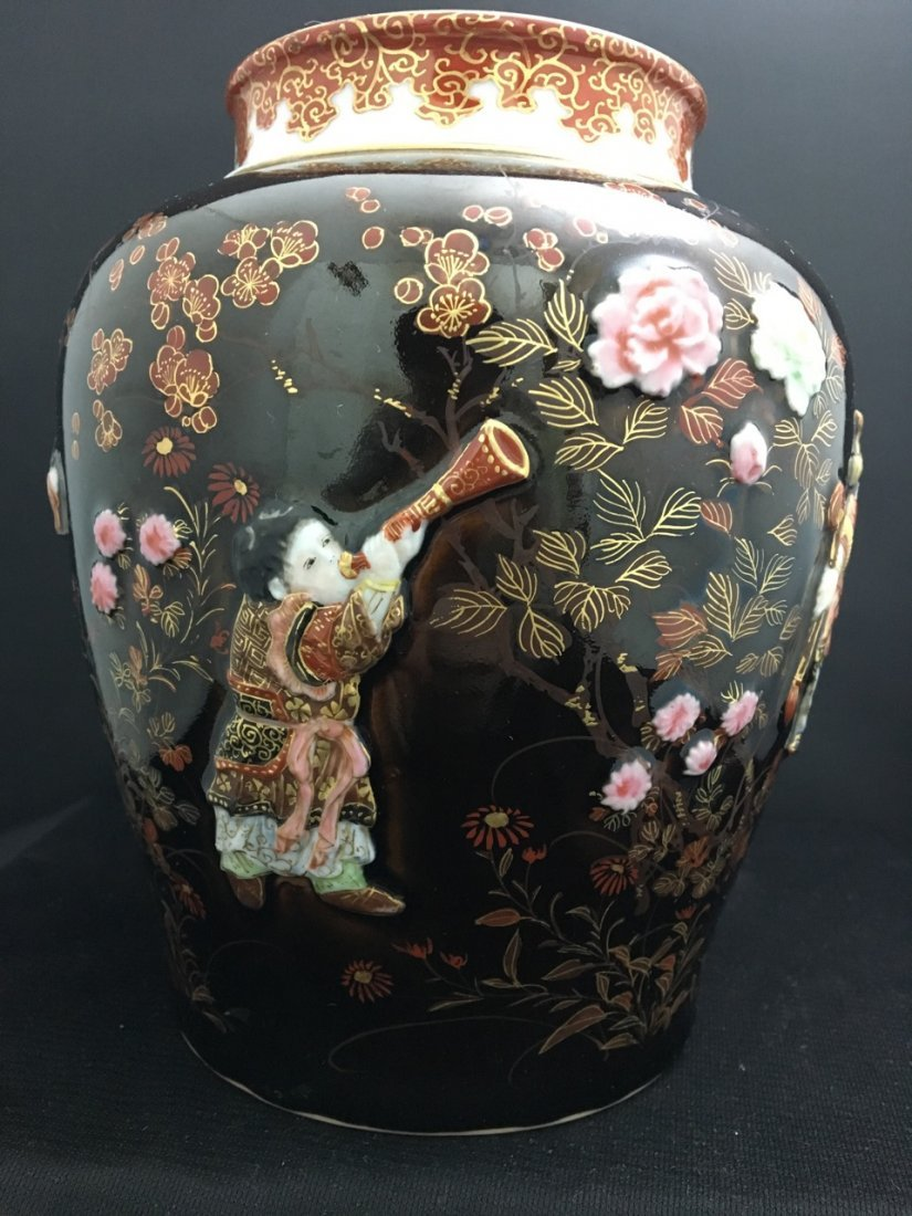 Japanese Brown Kutani Vase - 3