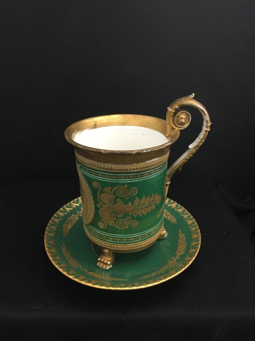 Large Green Cup with Attributed Saucer, likely Sevres