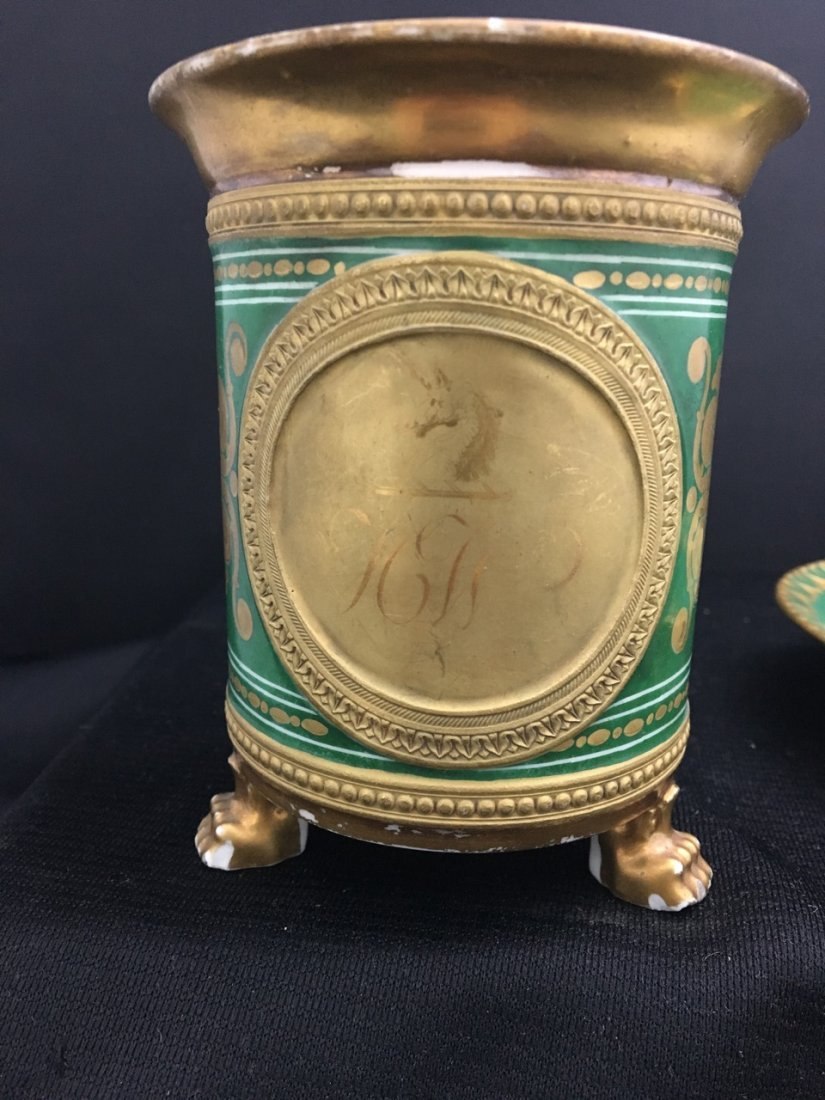 Large Green Cup with Attributed Saucer, likely Sevres - 2