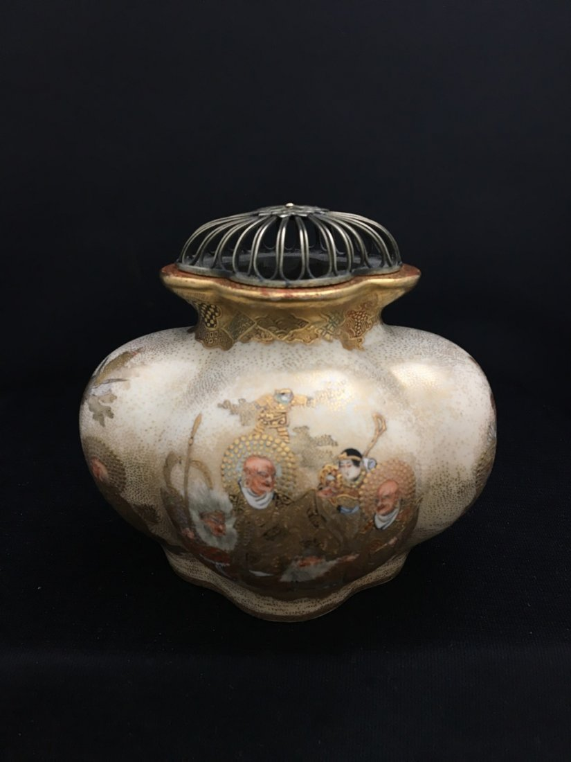 Japanese Rare Meiji Period Silver-Mounted Satsuma Vase