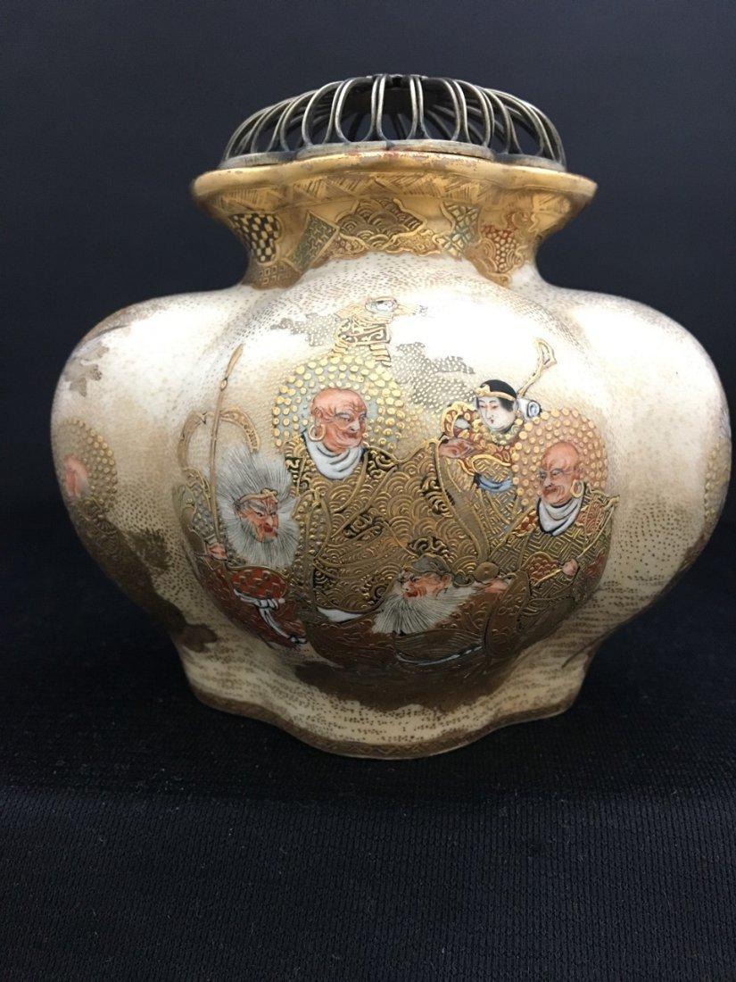 Japanese Rare Meiji Period Silver-Mounted Satsuma Vase - 2