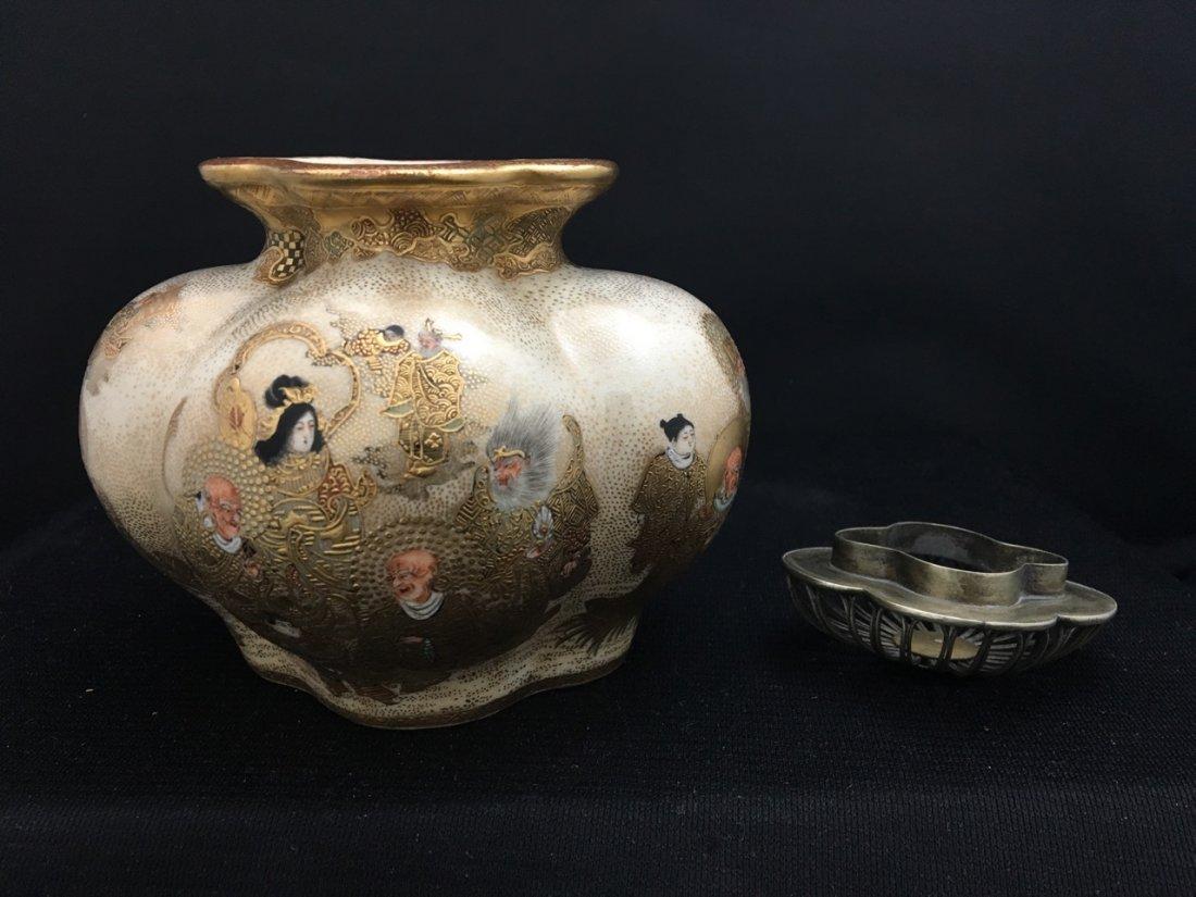 Japanese Rare Meiji Period Silver-Mounted Satsuma Vase - 4