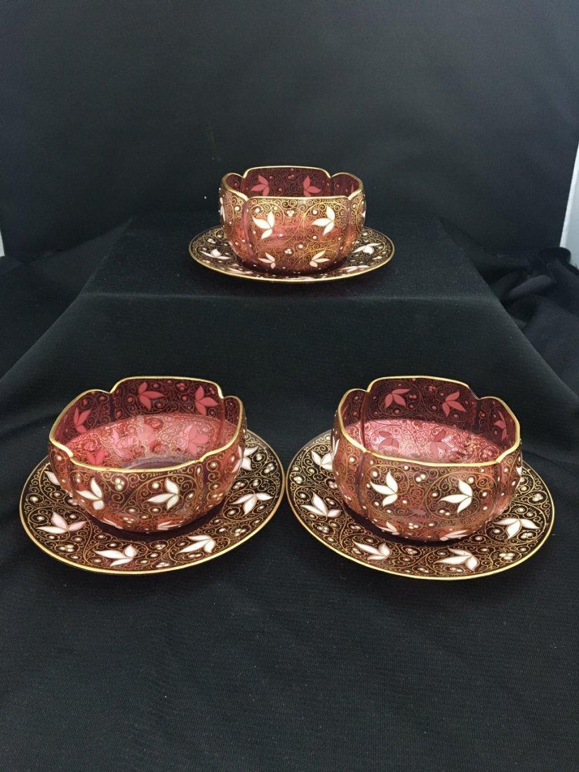 Three 19th-Century Enamel Moser Bowls and Plates