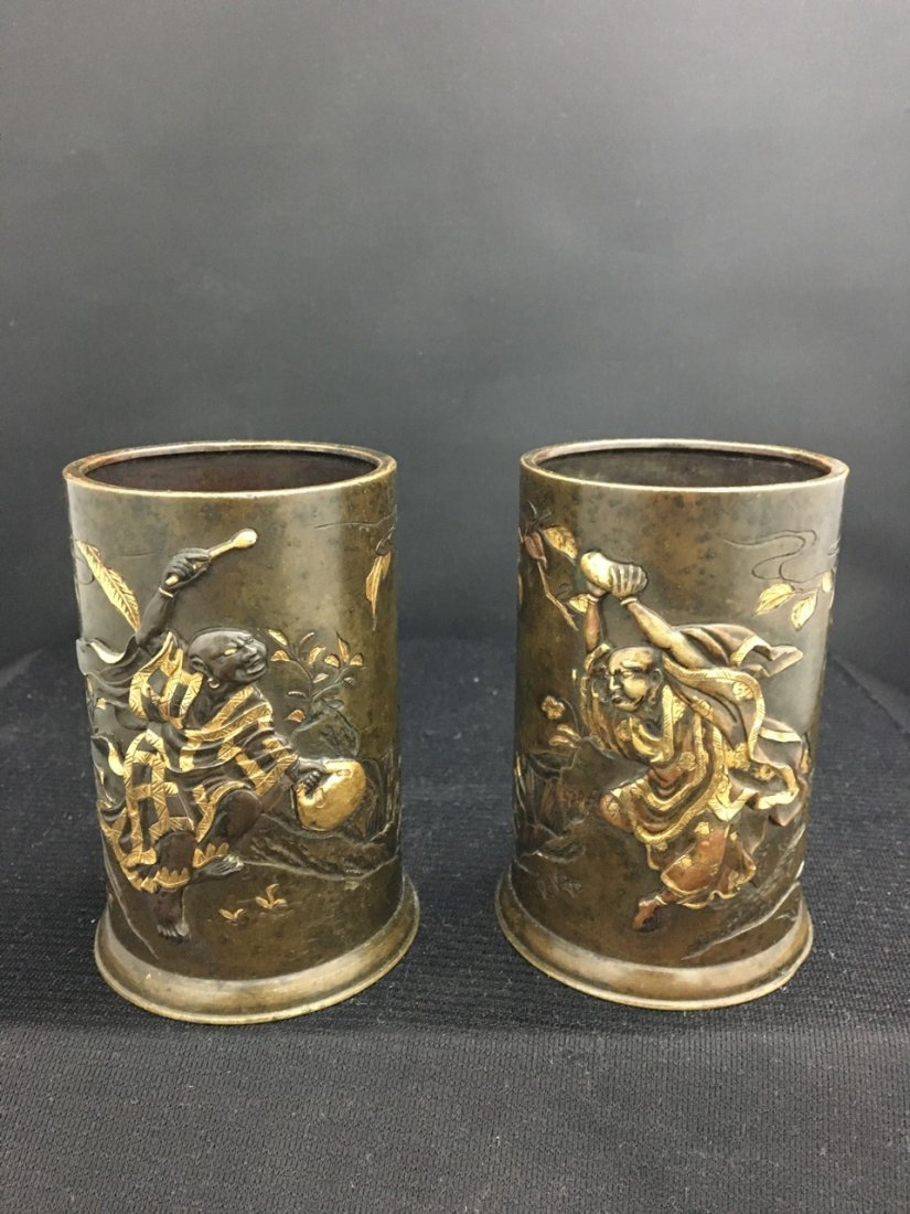 Japanese 19th-Century Meiji Period Pair of Vases
