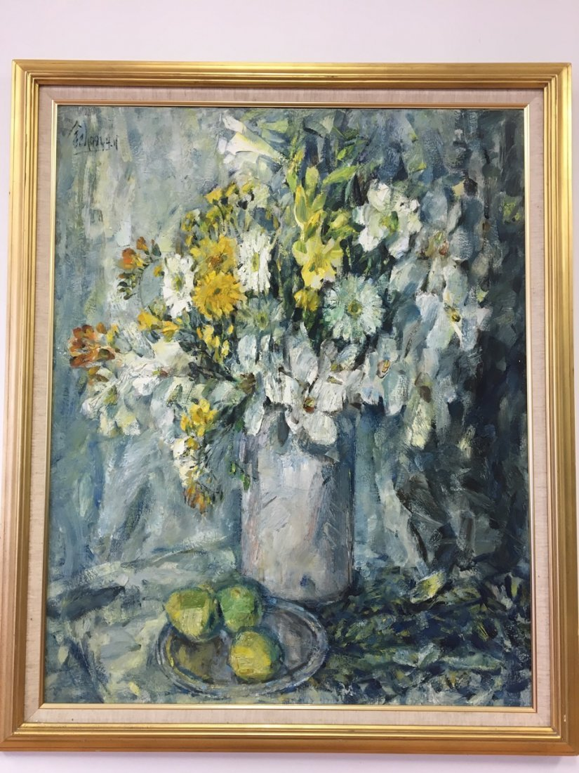 Chinese artist, Oil on Canvas Painting of Flowers