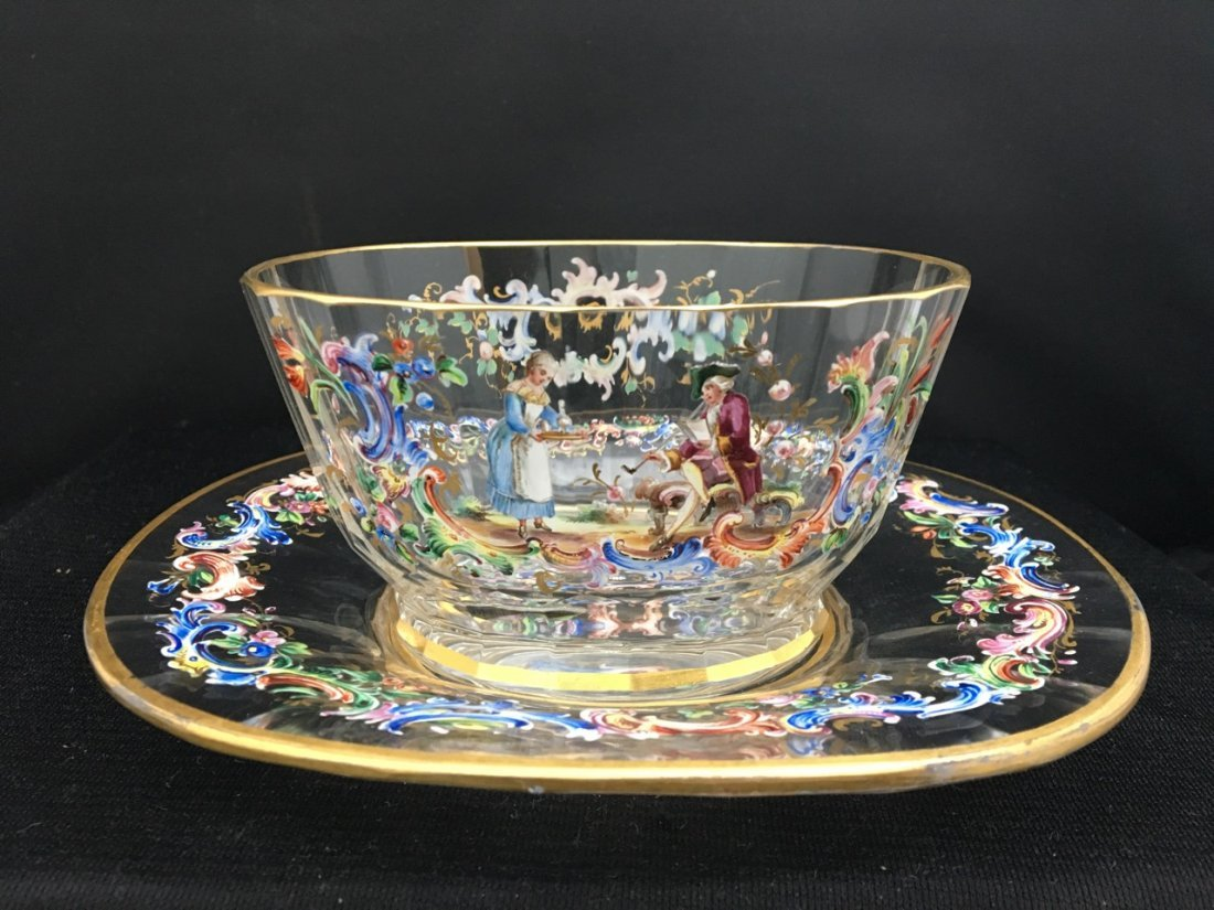 Lobmyer Enameled 19th-Century Bowl and Tray