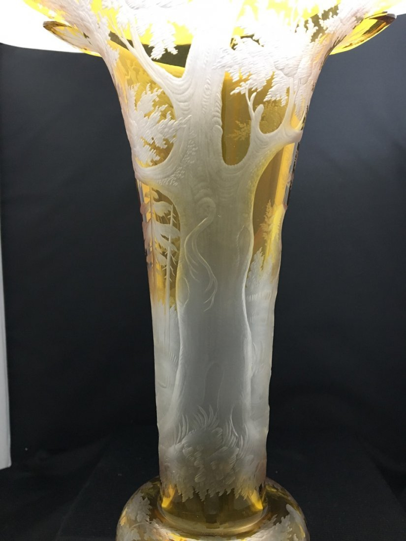 Bohemian Large Yellow Ground Carved Vase - 2
