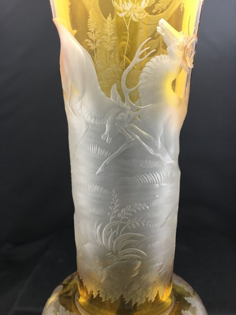Bohemian Large Yellow Ground Carved Vase - 3