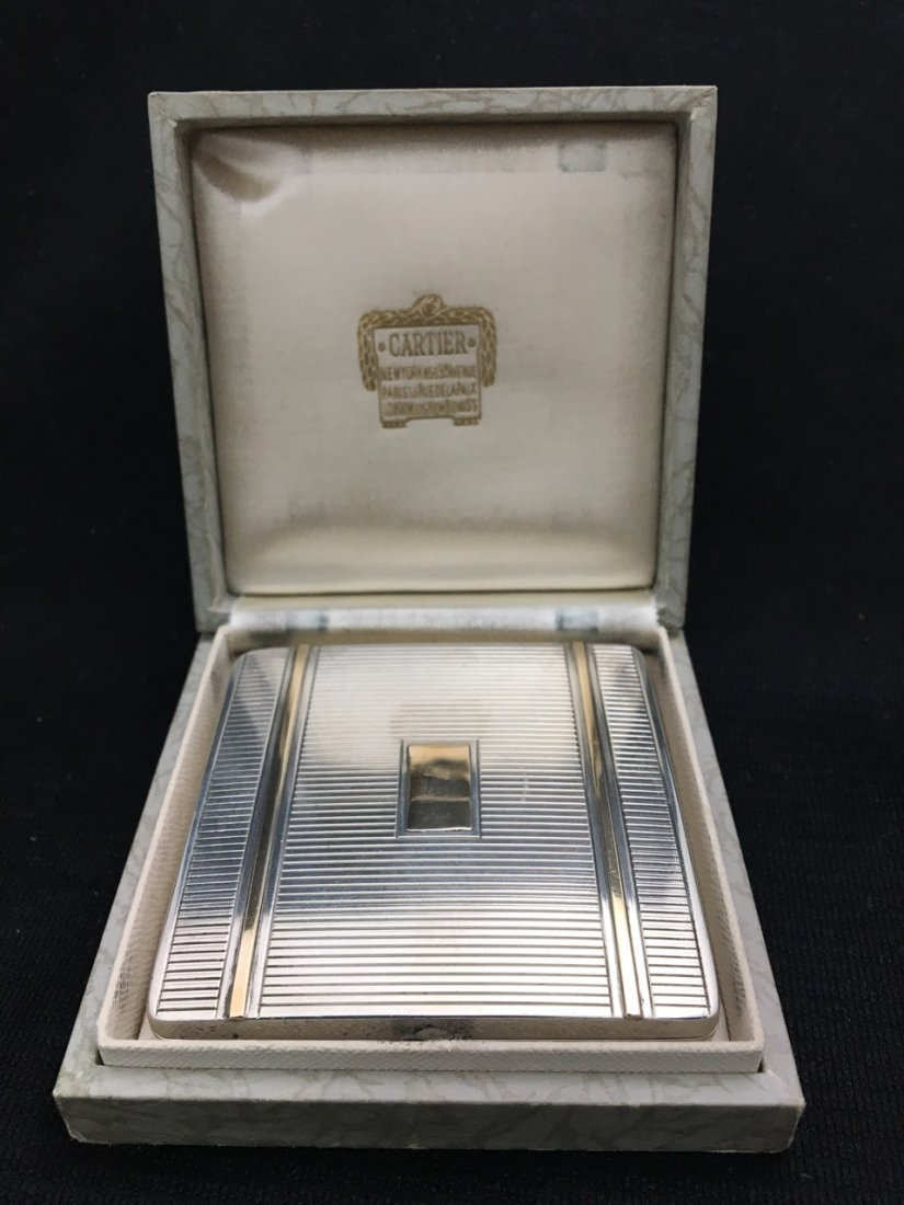Cartier Art Deco Silver and Gold Powder Box