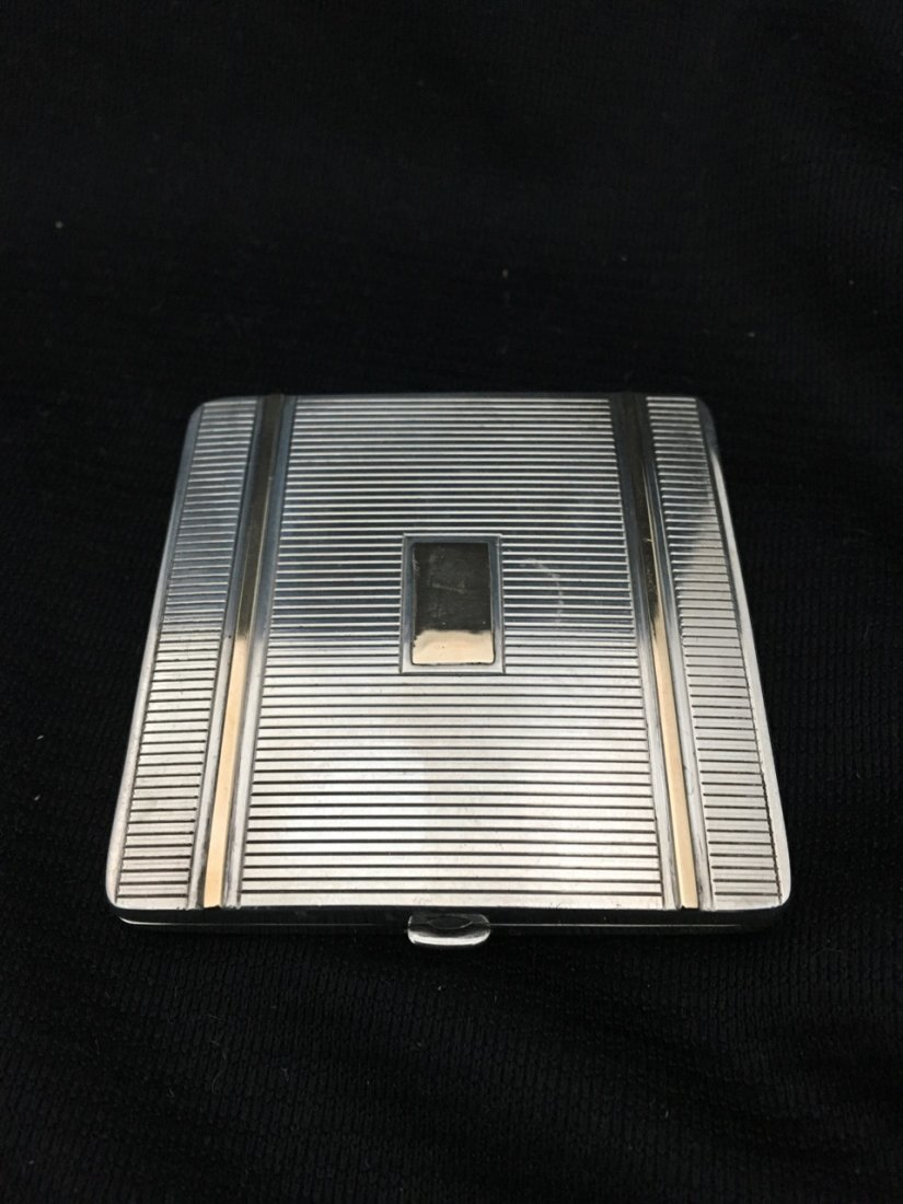 Cartier Art Deco Silver and Gold Powder Box - 6