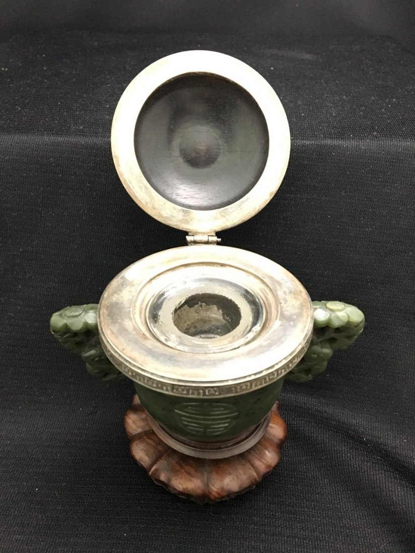 Rare Chinese Carved Green Jade and Rosewood Inkwell - 4