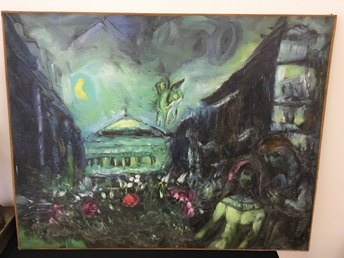 Painting, Oil on Canvas, style of Chagall, unsigned