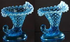 Pair Fenton Blue Cornucopia Candlestick