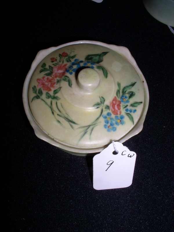 9: Hand-painted Occ. Japan covered vanity jar