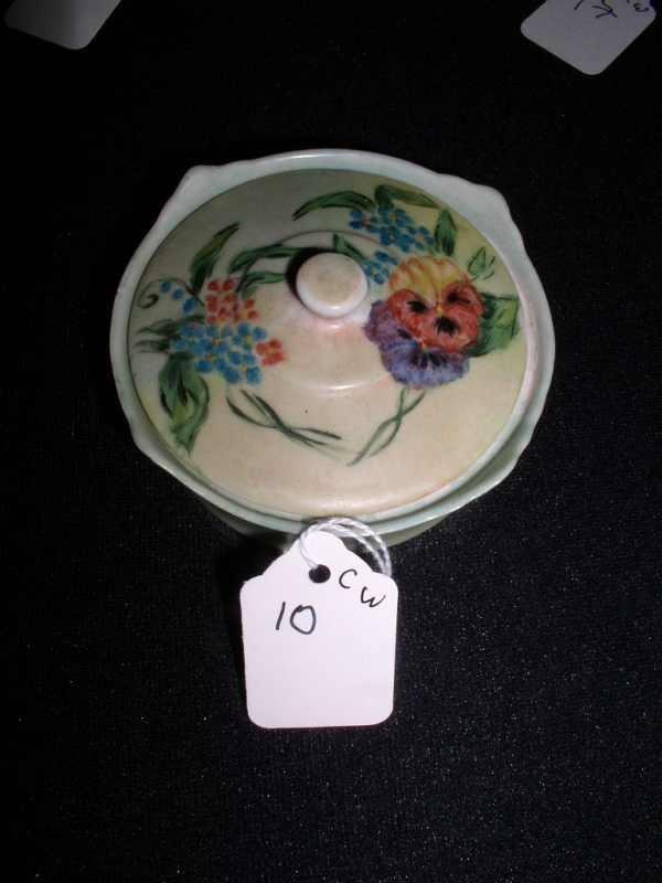 10: Hand-painted Occ. Japan covered vanity jar