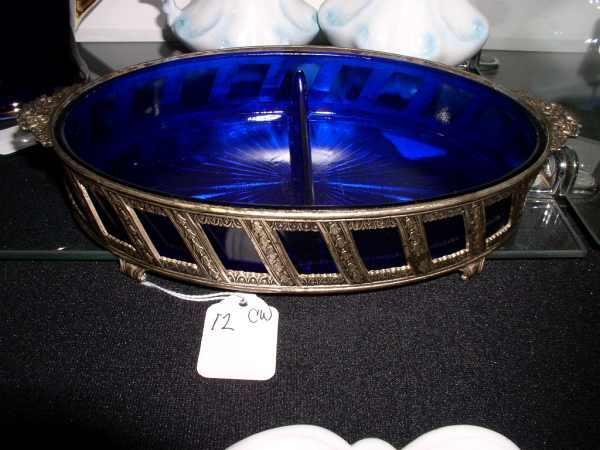 12: Cobalt glass and silverplate divided relish