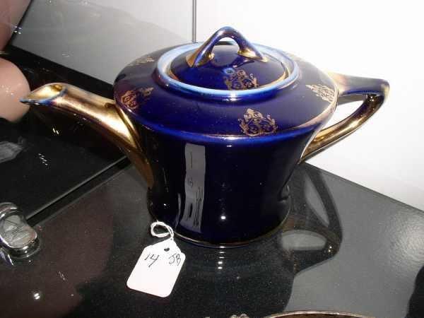 14: Fraunfelter cobalt and gold teapot