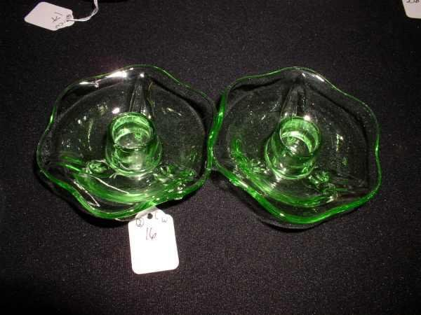 16: Pair green Depression glass footed candlesticks