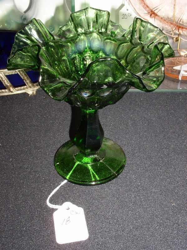 18: Fenton green pattern glass compote