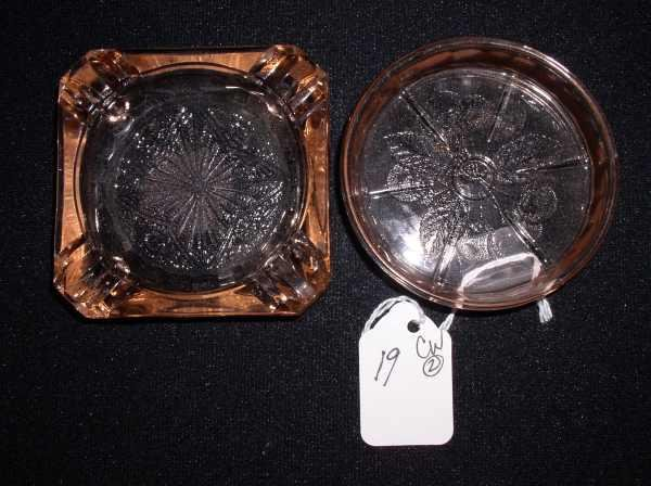 19: 2 pieces of pink Depression glass