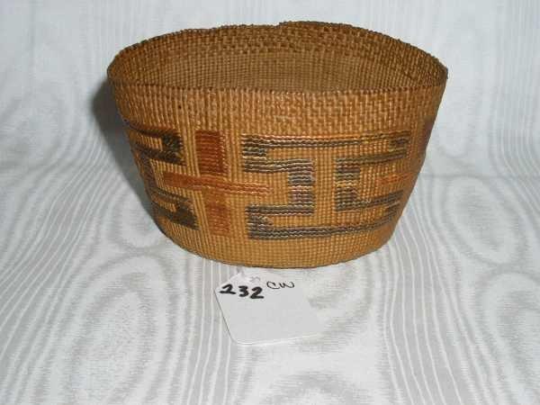232: Older Tlingit Native American Hand Woven Basket