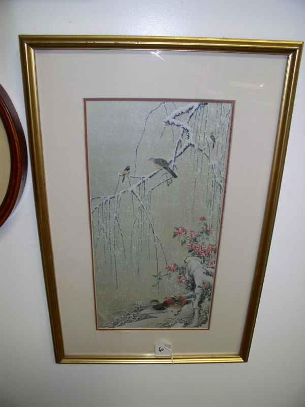 6: Asian litho on silk of birds in winter 20 in tall