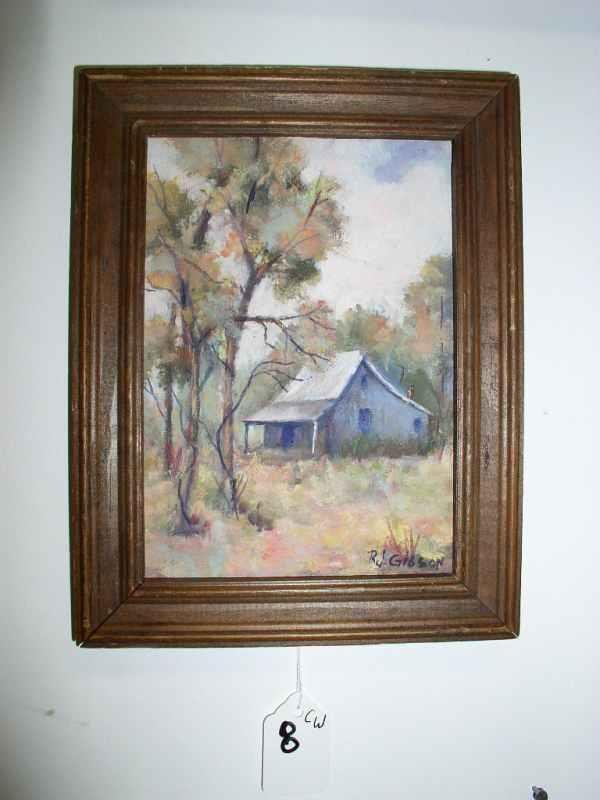 8: Small oil on board signed RJ Gibson 9 in tall