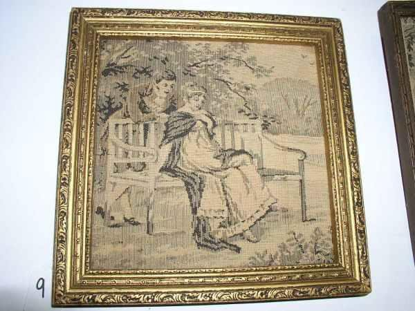9: Woven Victorian framed picture 10 in square