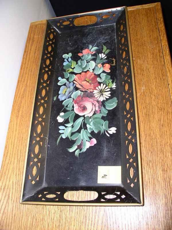 16: Vintage hand-painted Nashco tray 22 in long