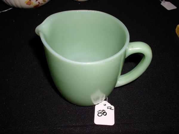 88: Fire King Jadeite Milk pitcher small chips on rim