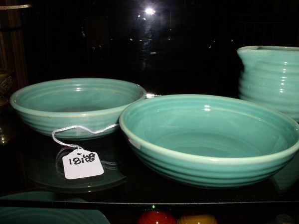 181: 2 green Bauer ringware low soup bowls 5.5 in diam