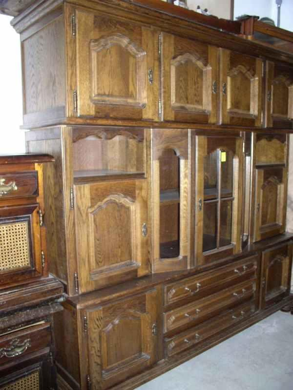 1255: Large oak curio cabinet, made in England 77 in ta